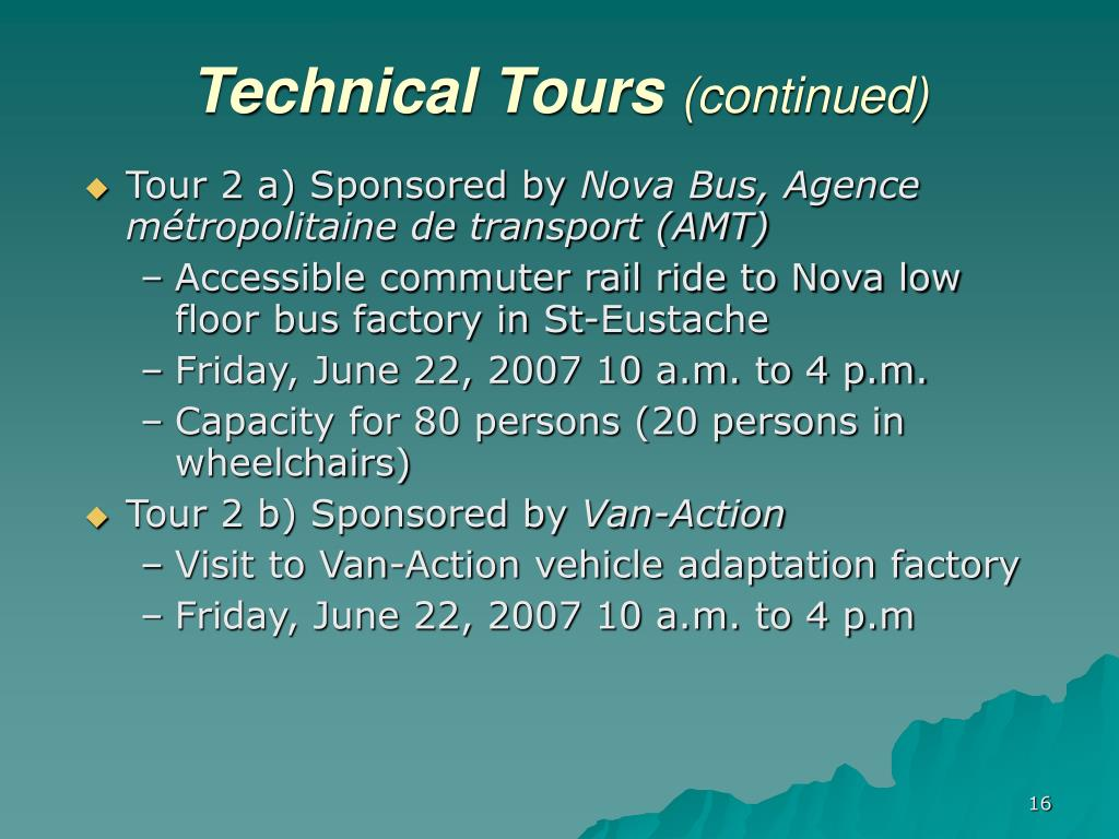 Technical Tours