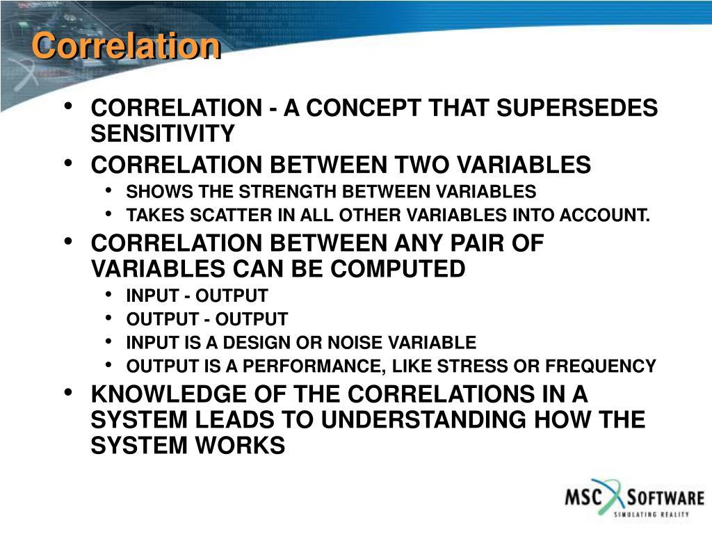 CORRELATION - A CONCEPT THAT SUPERSEDES SENSITIVITY