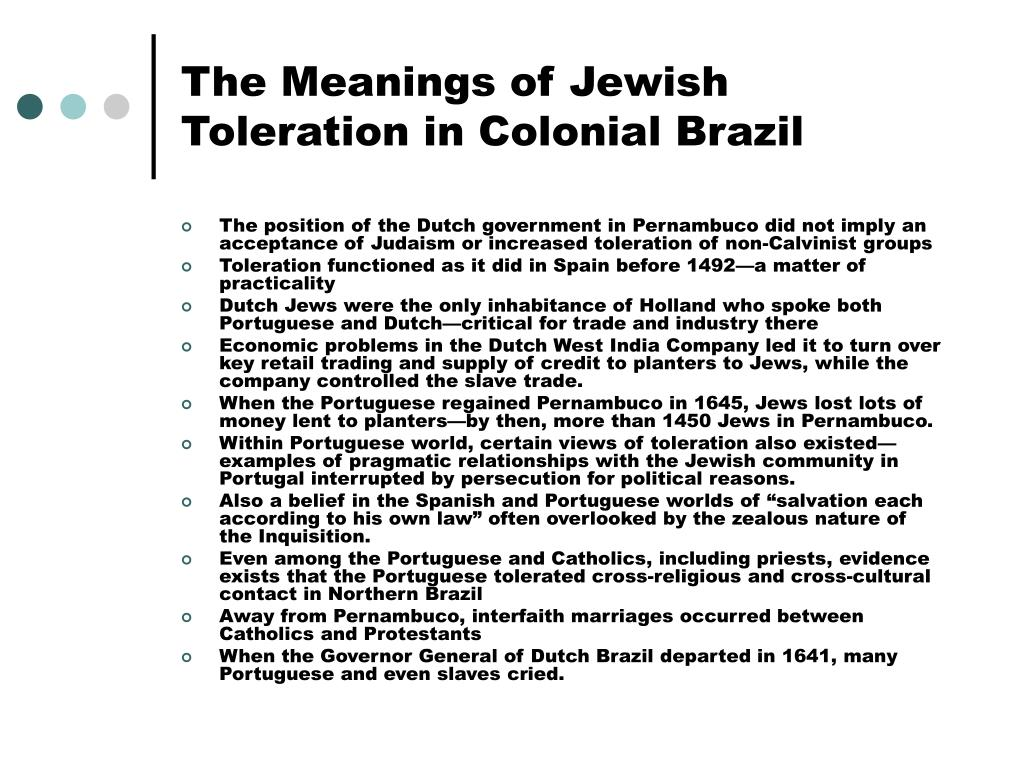 The Meanings of Jewish Toleration in Colonial Brazil