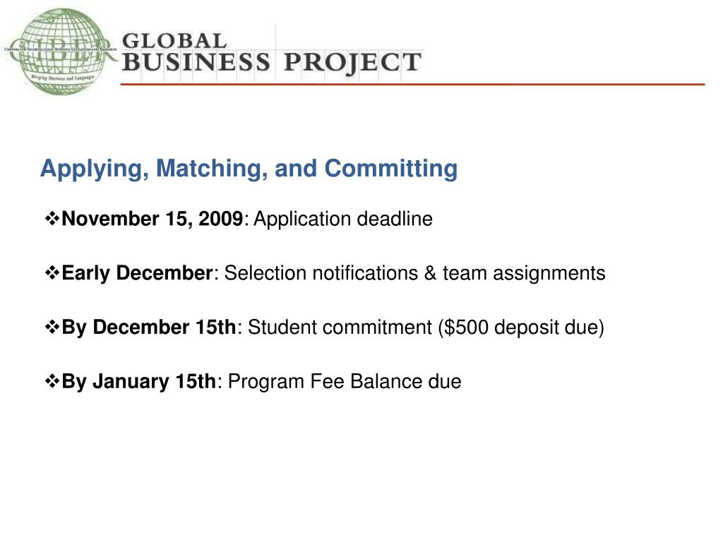 Applying, Matching, and Committing