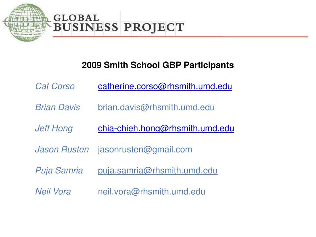 2009 Smith School GBP Participants