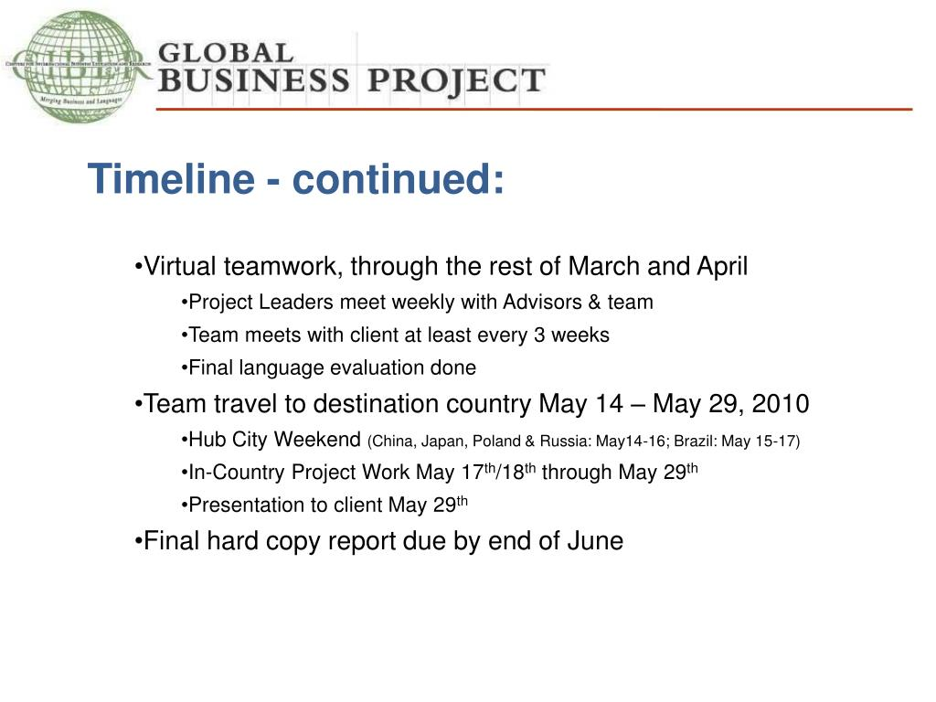 Timeline - continued: