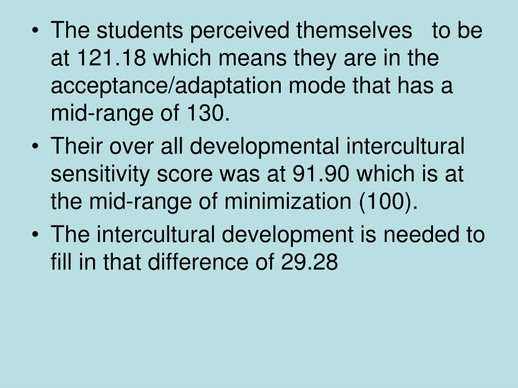 The students perceived themselves   to be at 121.18 which means they are in the acceptance/adaptation mode that has a mid-range of 130.
