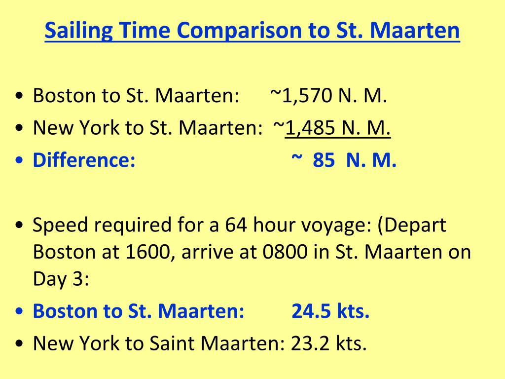 Sailing Time Comparison to St. Maarten
