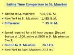 sailing time comparison to st maarten