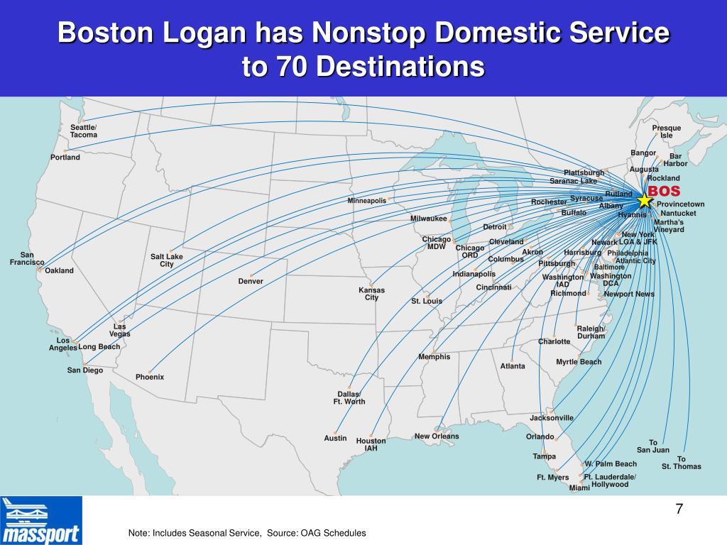 Boston Logan has Nonstop Domestic Service