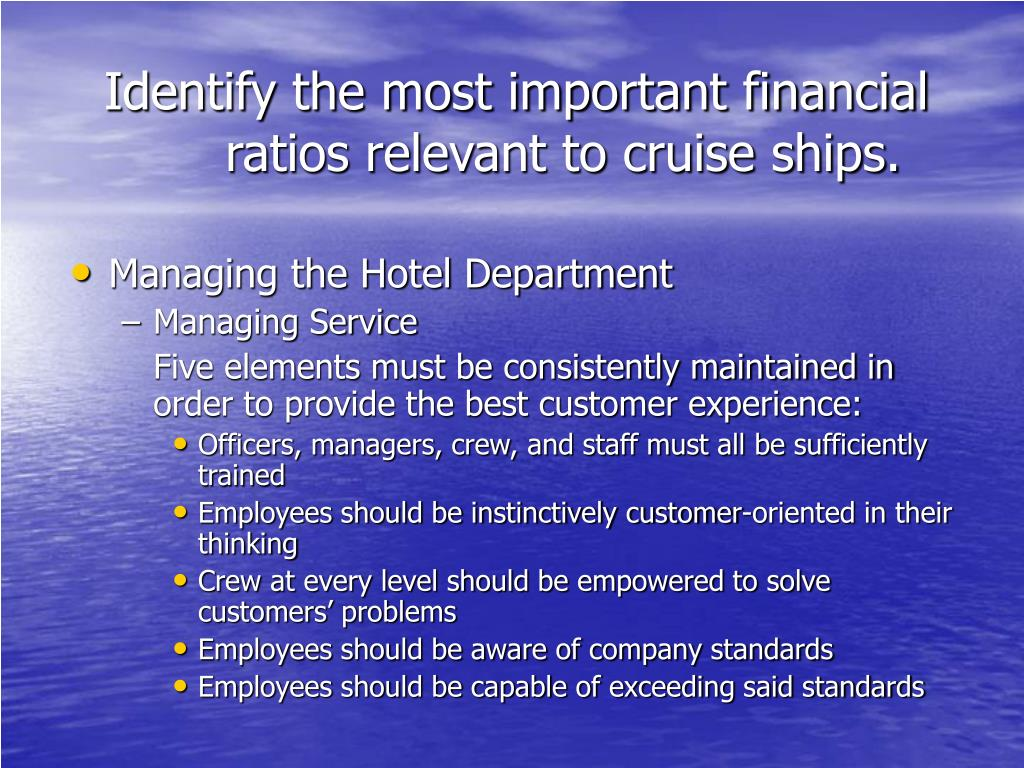 Identify the most important financial ratios relevant to cruise ships.