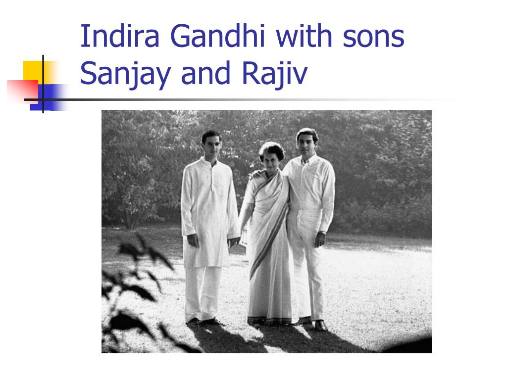 Indira Gandhi with sons Sanjay and Rajiv