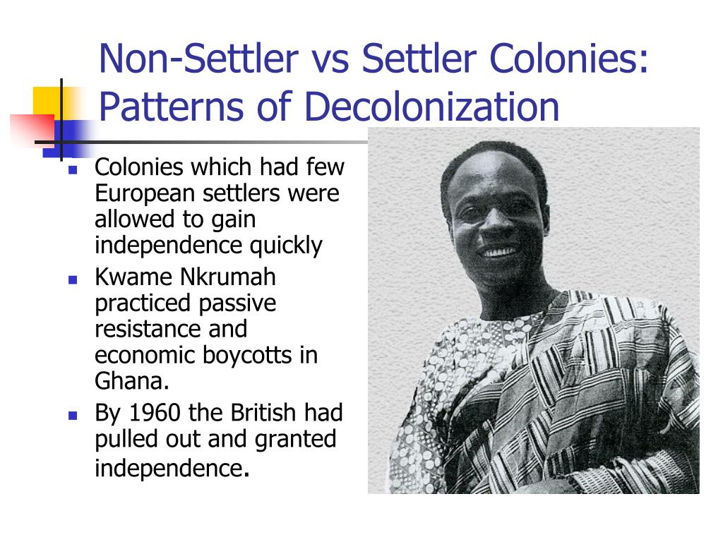 Non-Settler vs Settler Colonies: Patterns of Decolonization