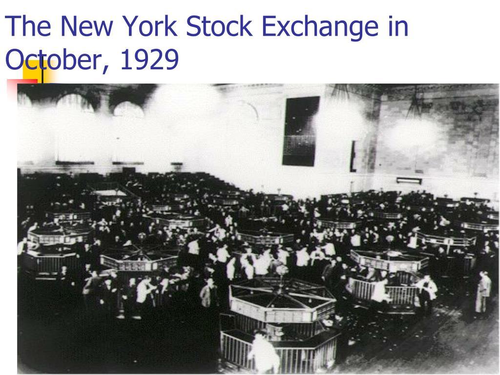 The New York Stock Exchange in October, 1929