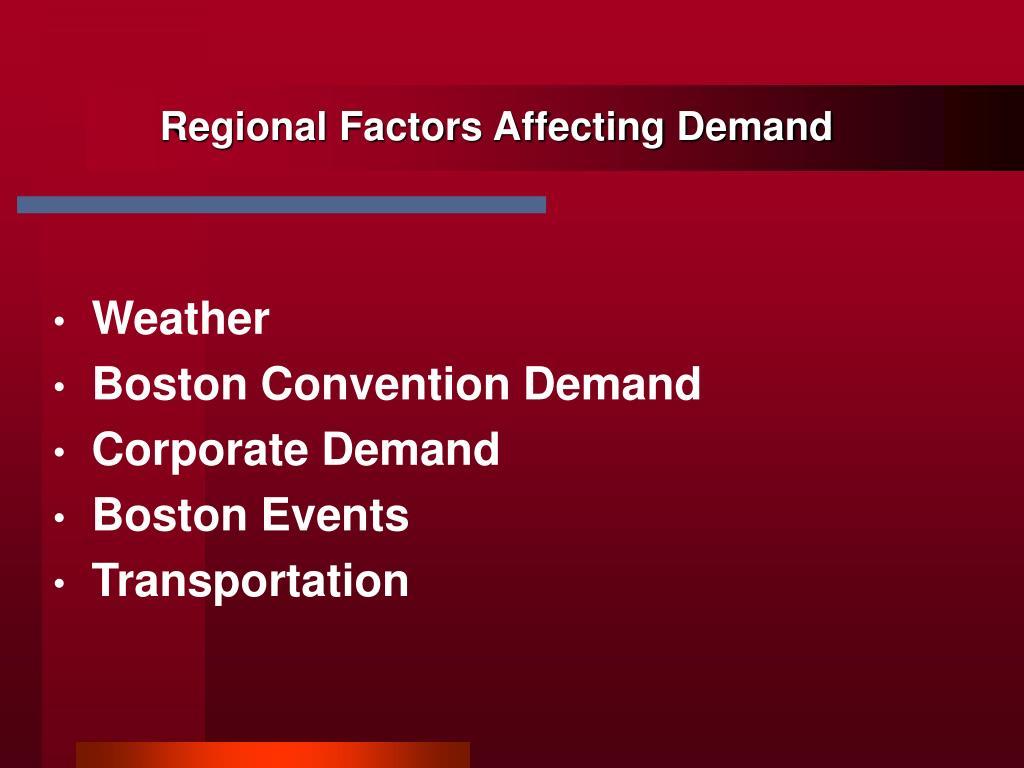 Regional Factors Affecting Demand
