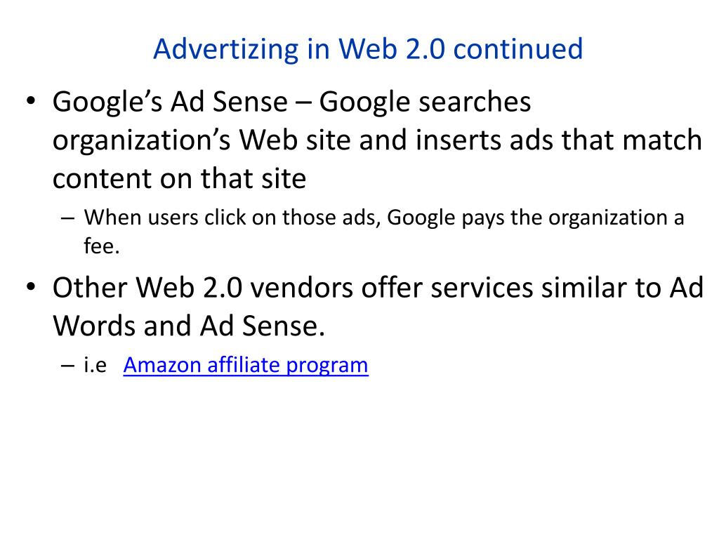 Advertizing in Web 2.0 continued