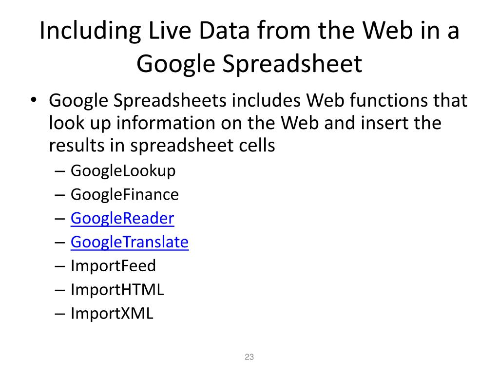 Including Live Data from the Web in a Google Spreadsheet