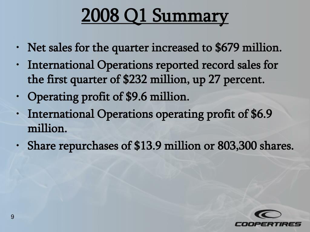 2008 Q1 Summary