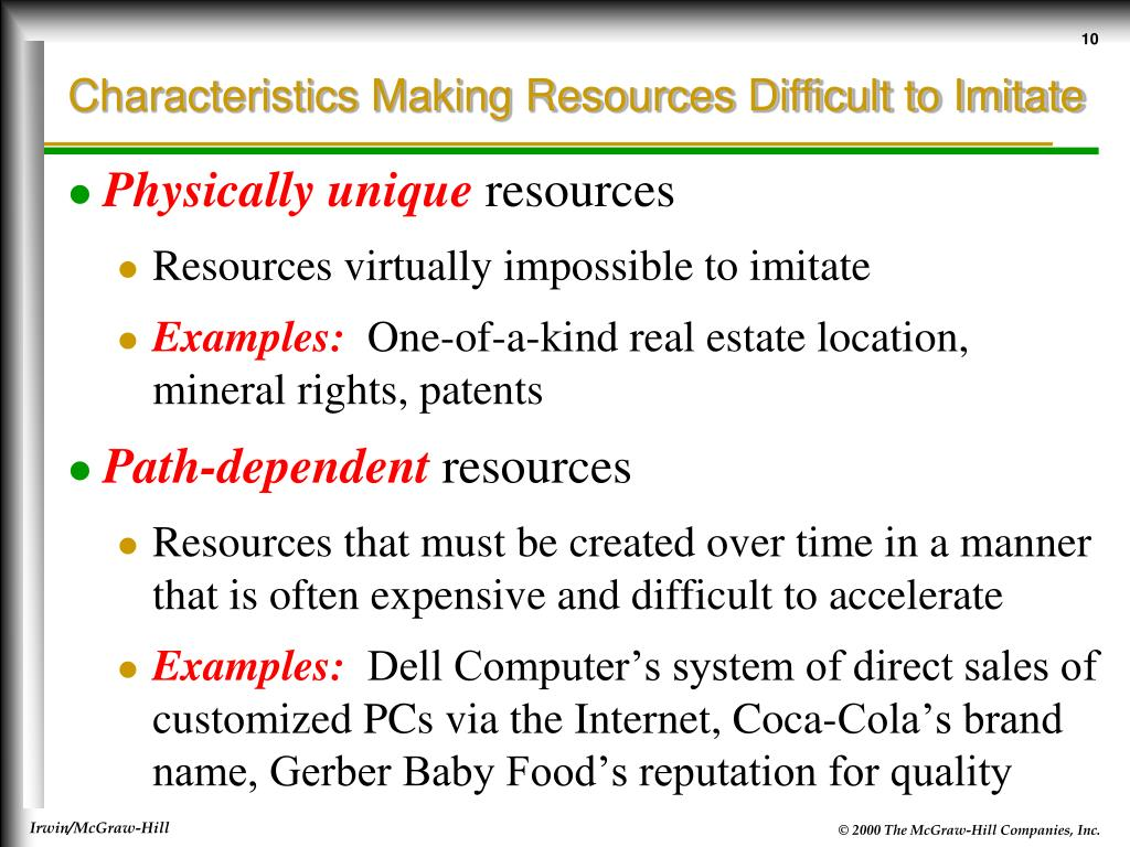 Characteristics Making Resources Difficult to Imitate