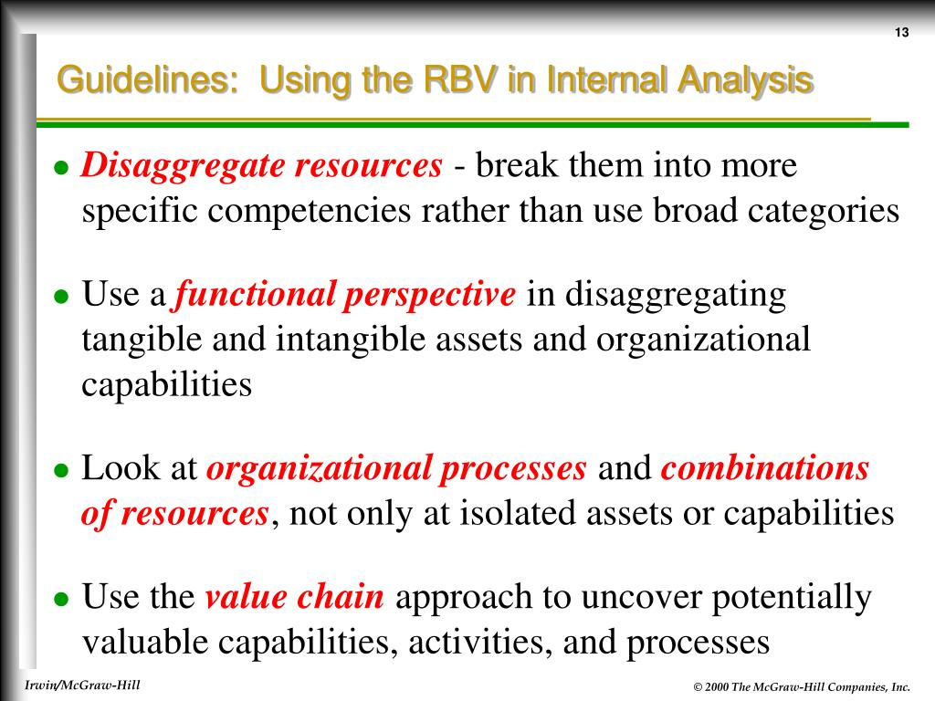 Guidelines:  Using the RBV in Internal Analysis