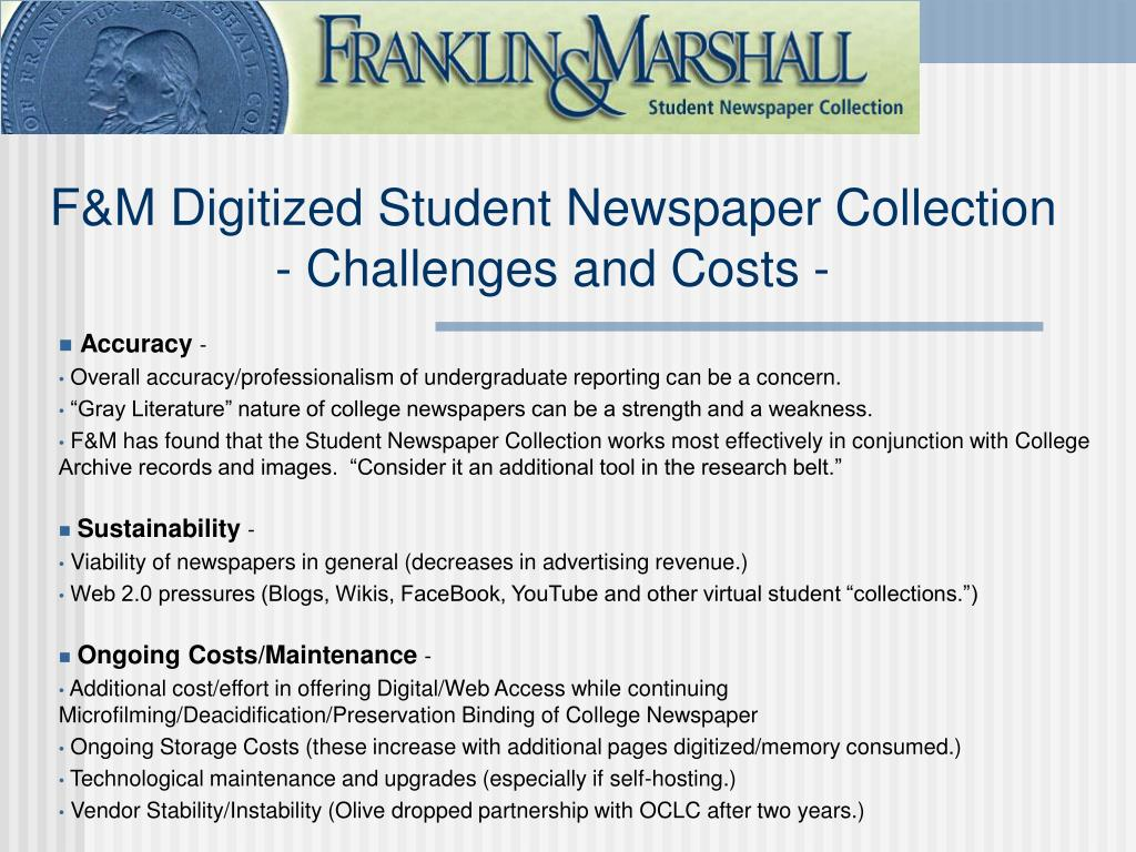 F&M Digitized Student Newspaper Collection