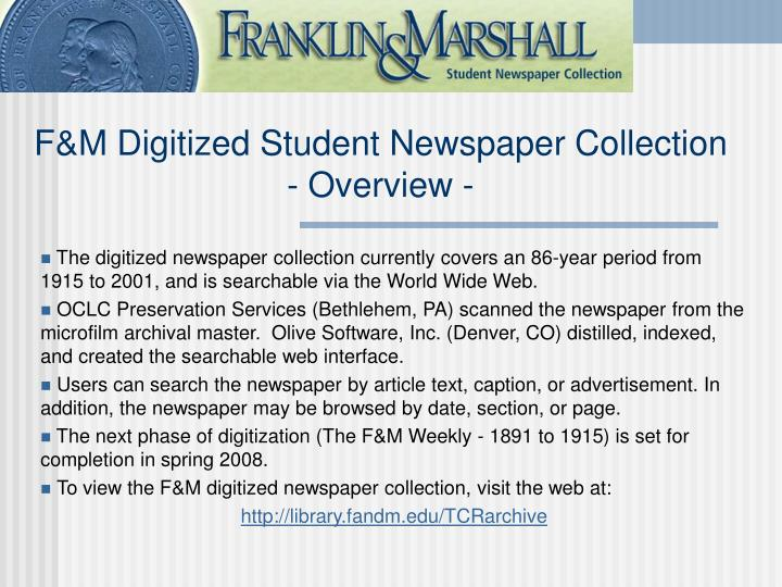F m digitized student newspaper collection overview