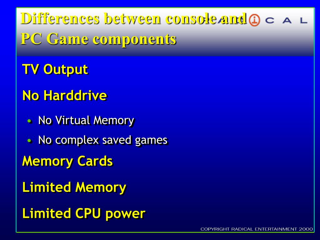 Differences between console and PC Game components