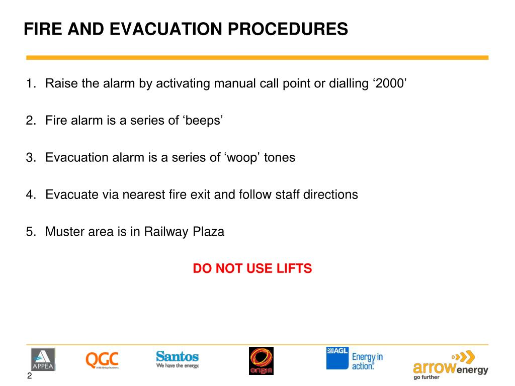 FIRE AND EVACUATION PROCEDURES