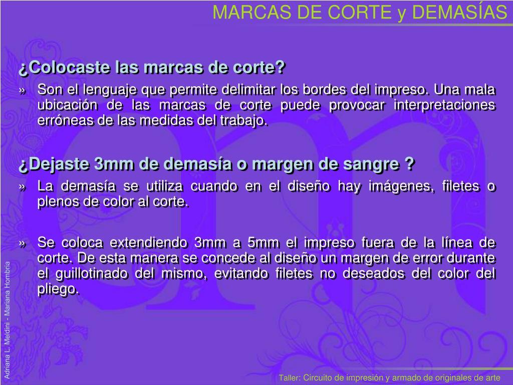 MARCAS DE CORTE y DEMAS