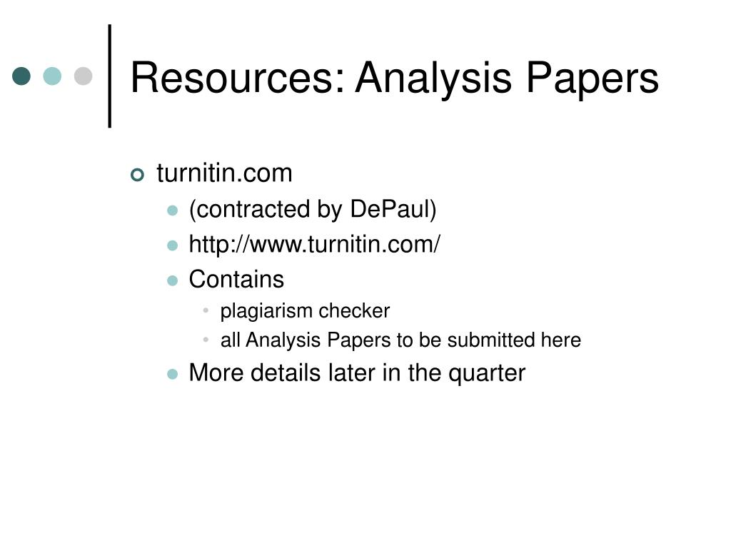 Resources: Analysis Papers