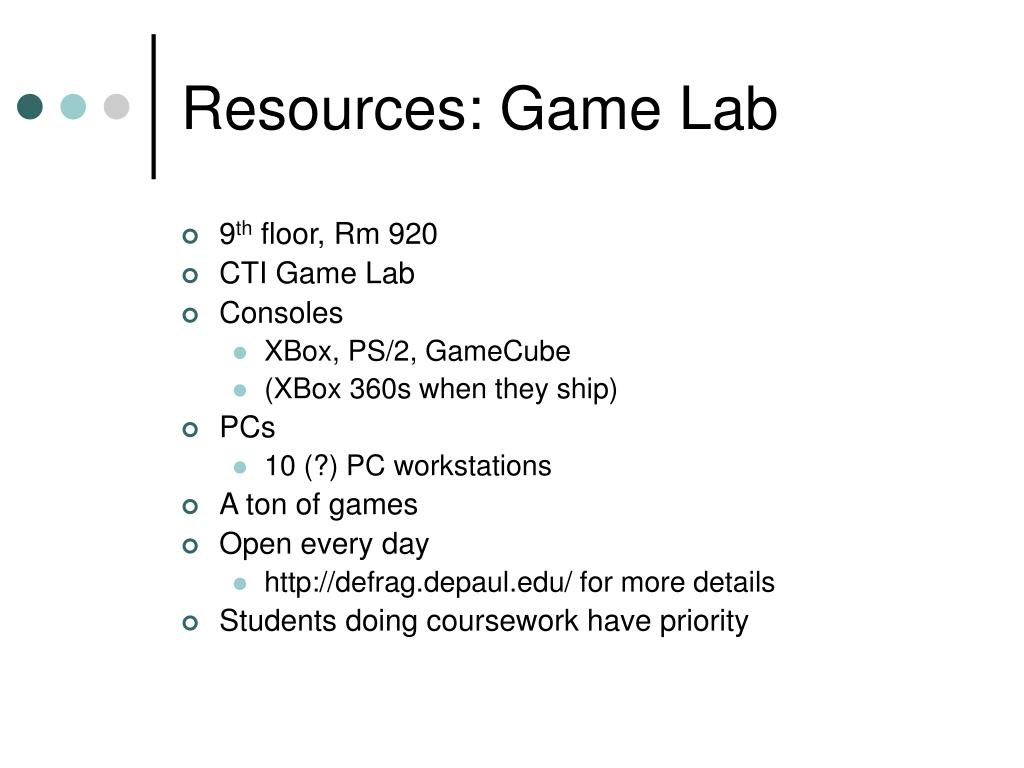 Resources: Game Lab