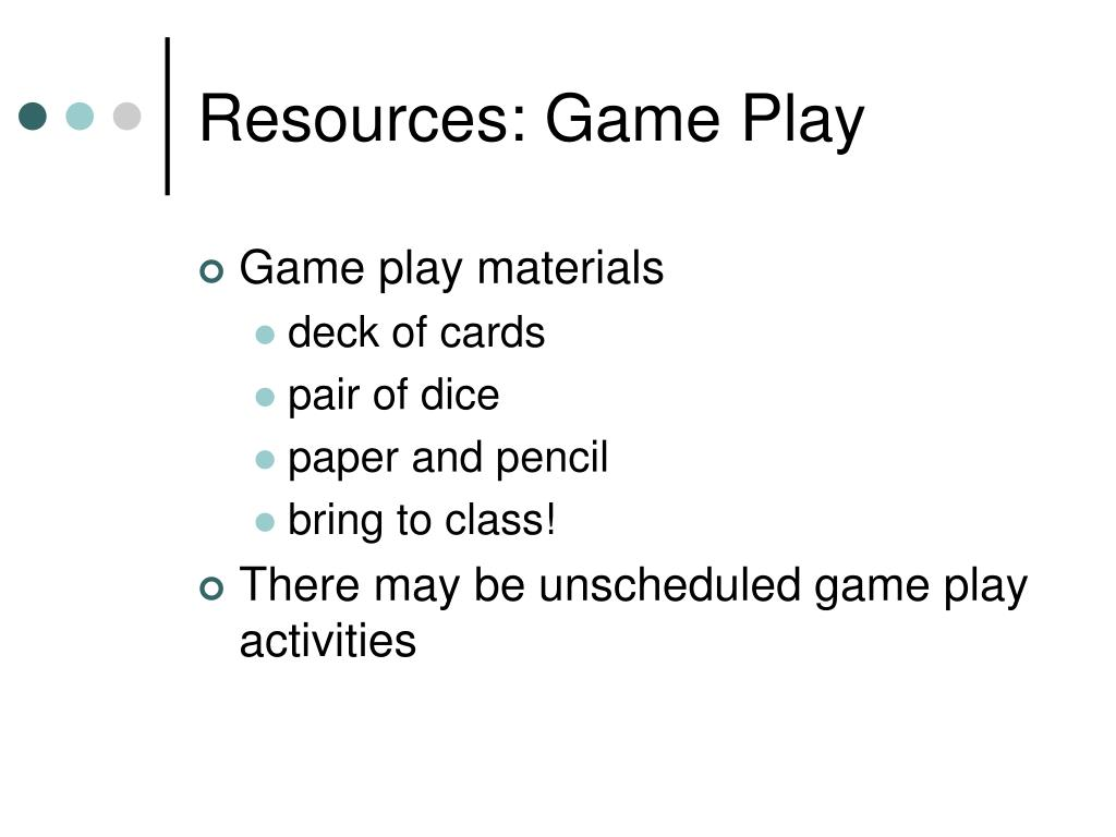 Resources: Game Play