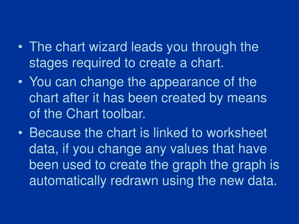 The chart wizard leads you through the stages required to create a chart.