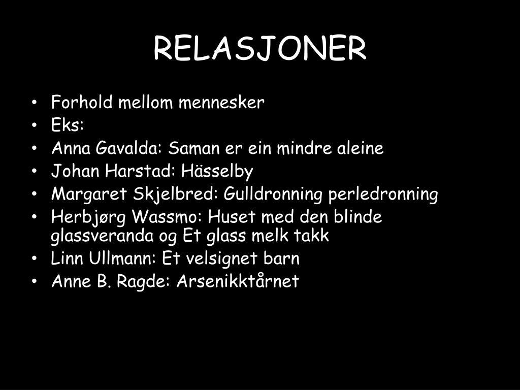 RELASJONER
