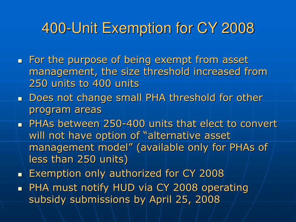 400-Unit Exemption for CY 2008