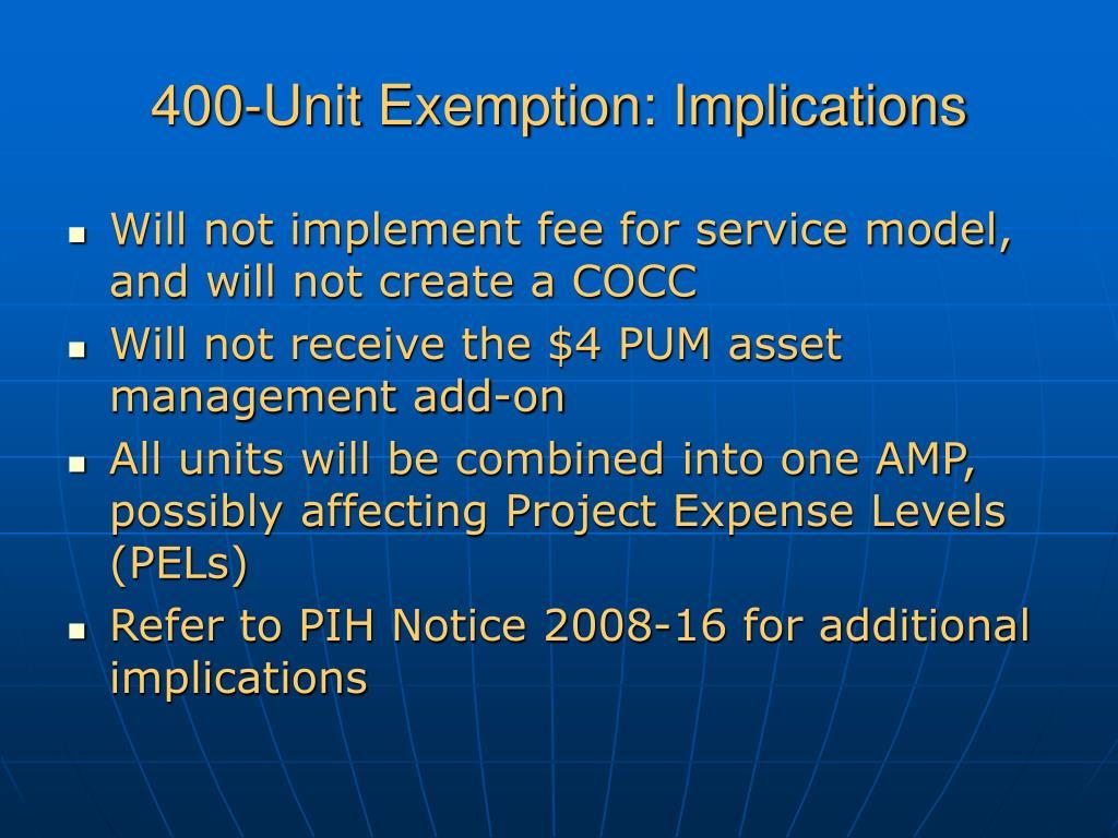 400-Unit Exemption: Implications