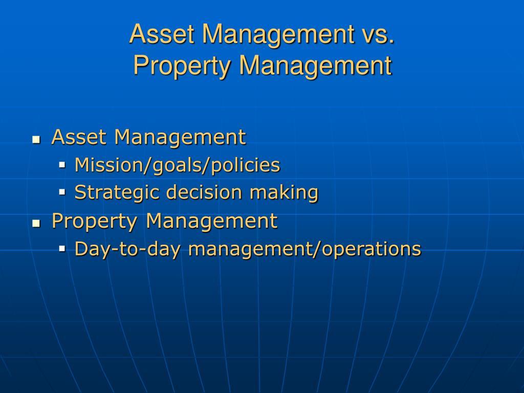 Asset Management vs.