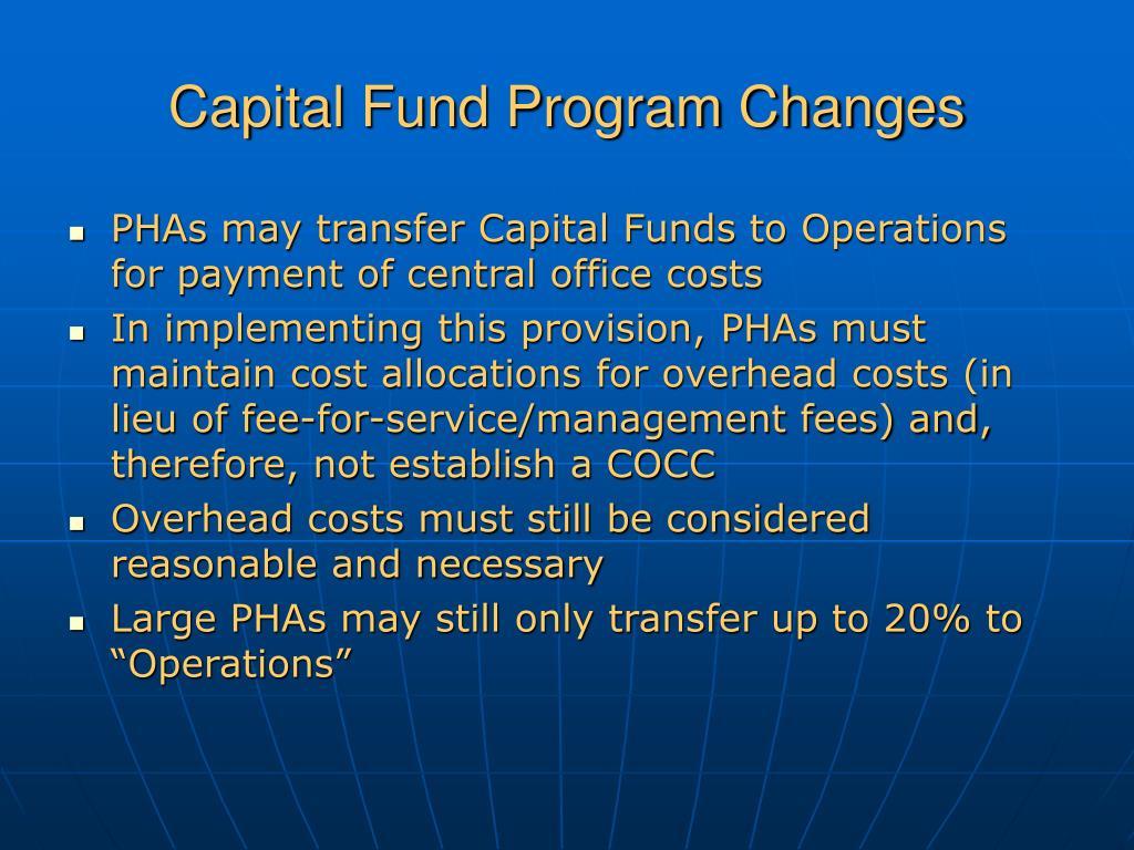 Capital Fund Program Changes