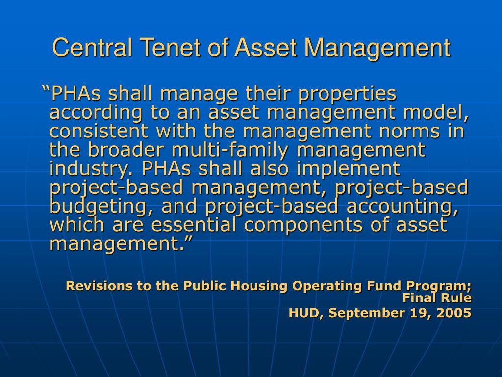 Central Tenet of Asset Management