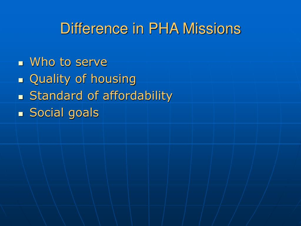Difference in PHA Missions