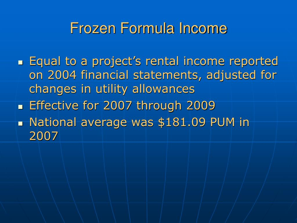 Frozen Formula Income