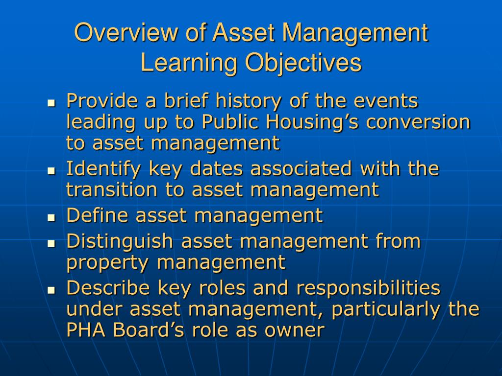 Overview of Asset Management