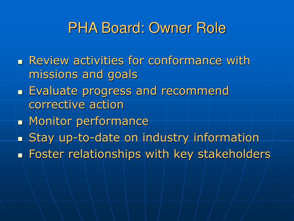 PHA Board: Owner Role