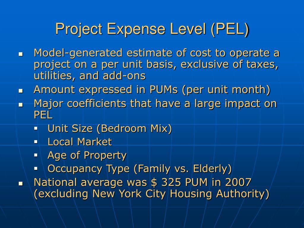 Project Expense Level (PEL)