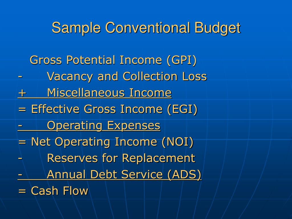 Sample Conventional Budget