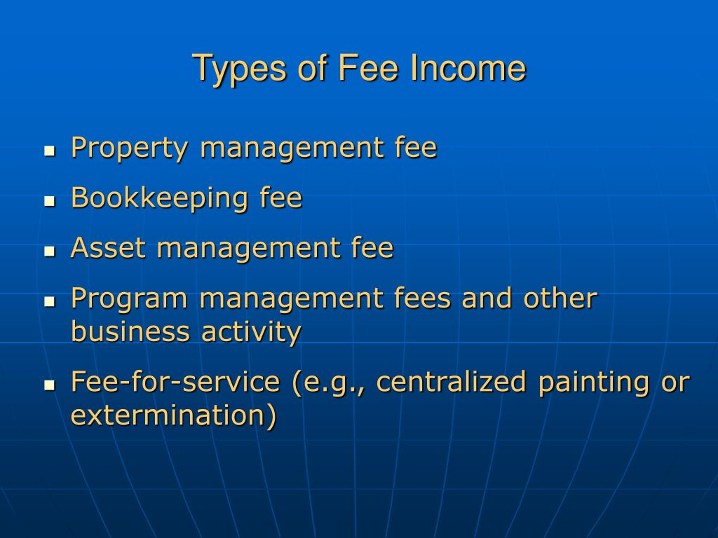 Types of Fee Income