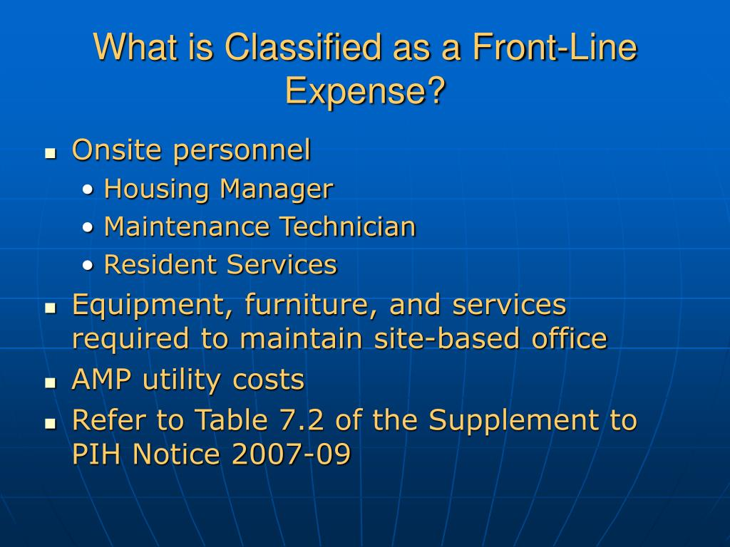 What is Classified as a Front-Line Expense?