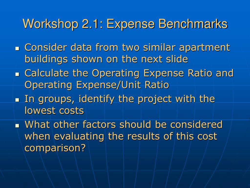 Workshop 2.1: Expense Benchmarks