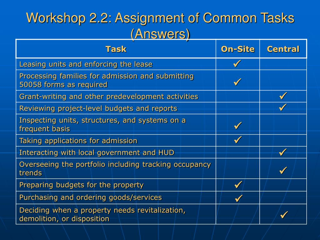 Workshop 2.2: Assignment of Common Tasks (Answers)