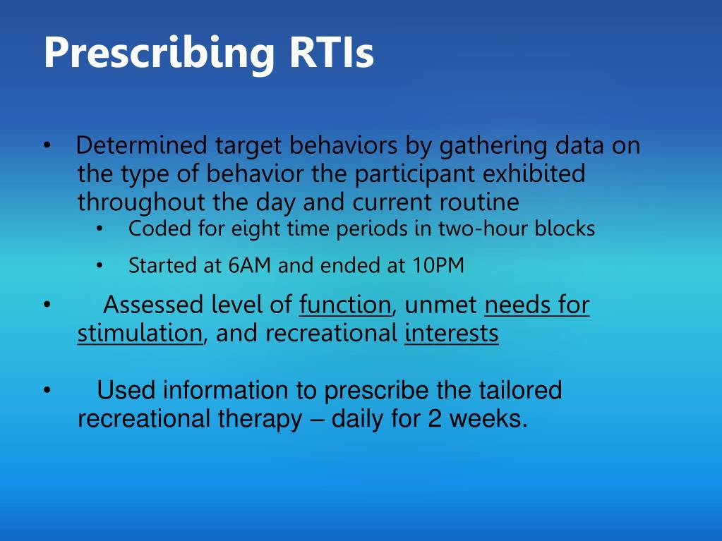 Prescribing RTIs