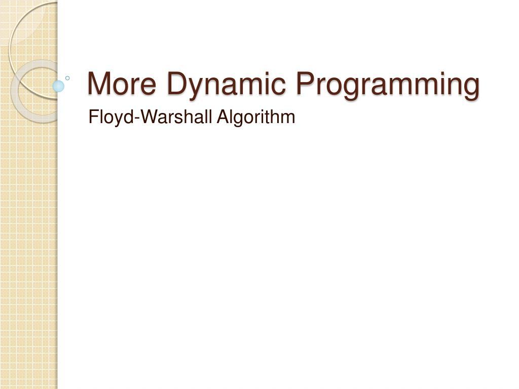 More Dynamic Programming