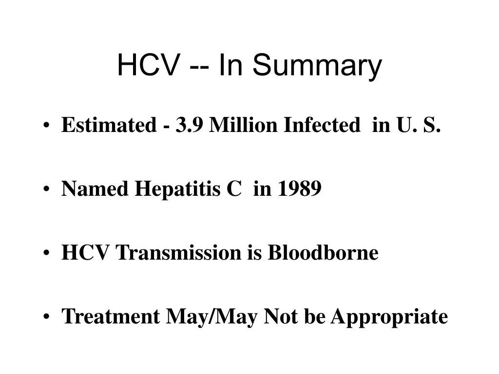 HCV -- In Summary