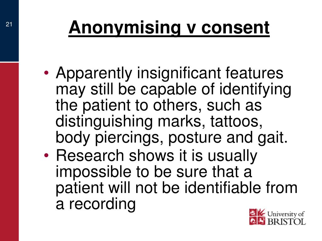 Anonymising v consent