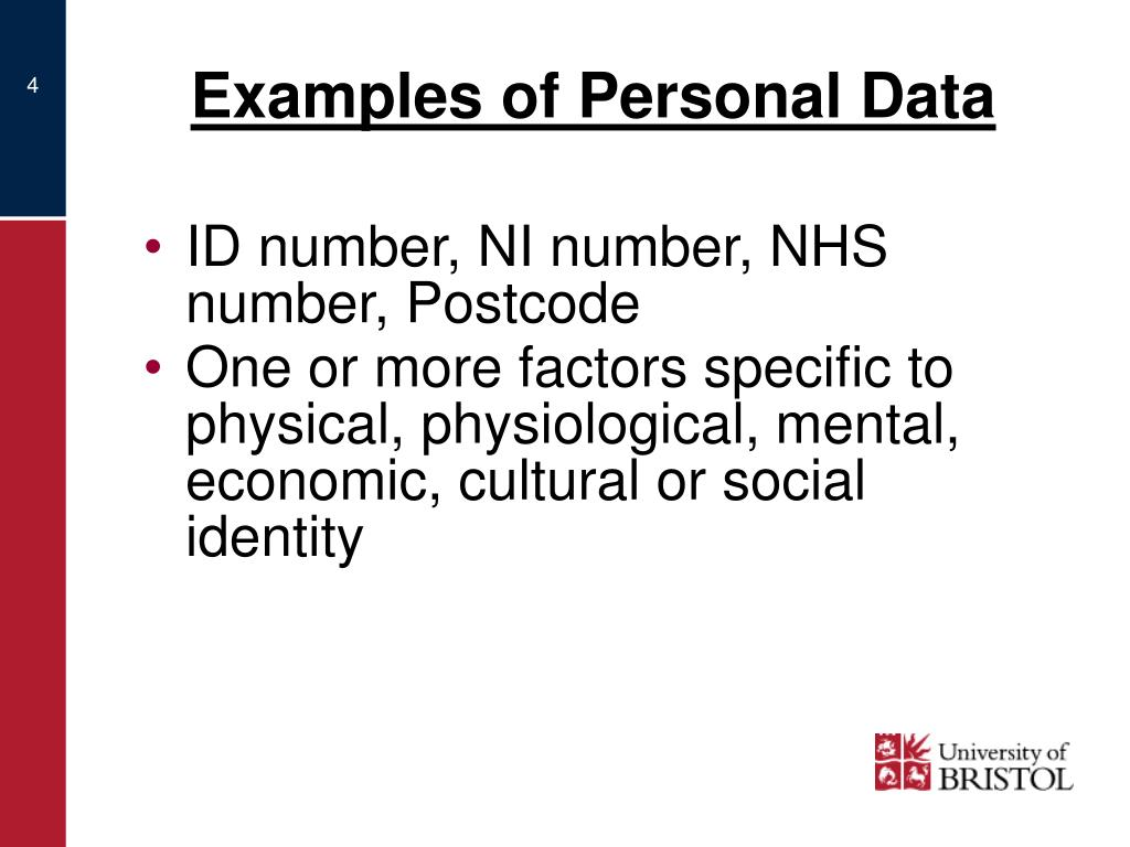 Examples of Personal Data